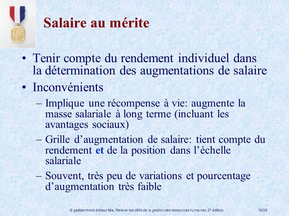 © gaëtan morin éditeur ltée, Relever les défis de la gestion des ressources humaines, 2 e édition.18/38 Salaire au mérite Tenir compte du rendement in