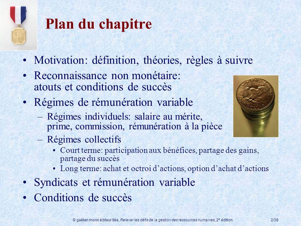 © gaëtan morin éditeur ltée, Relever les défis de la gestion des ressources humaines, 2 e édition.2/38 Motivation: définition, théories, règles à suiv