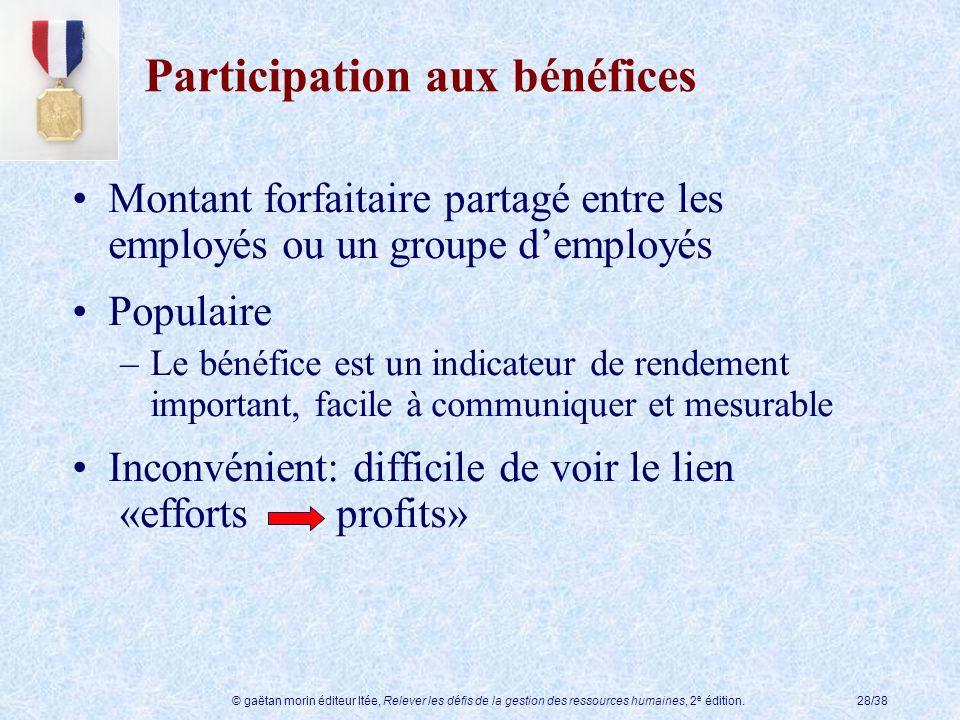 © gaëtan morin éditeur ltée, Relever les défis de la gestion des ressources humaines, 2 e édition.28/38 Participation aux bénéfices Montant forfaitair