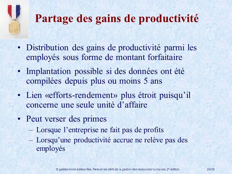 © gaëtan morin éditeur ltée, Relever les défis de la gestion des ressources humaines, 2 e édition.29/38 Partage des gains de productivité Distribution