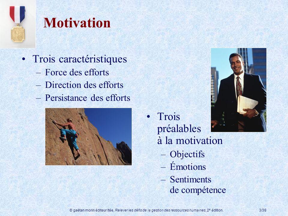 © gaëtan morin éditeur ltée, Relever les défis de la gestion des ressources humaines, 2 e édition.3/38 Motivation Trois caractéristiques –Force des ef