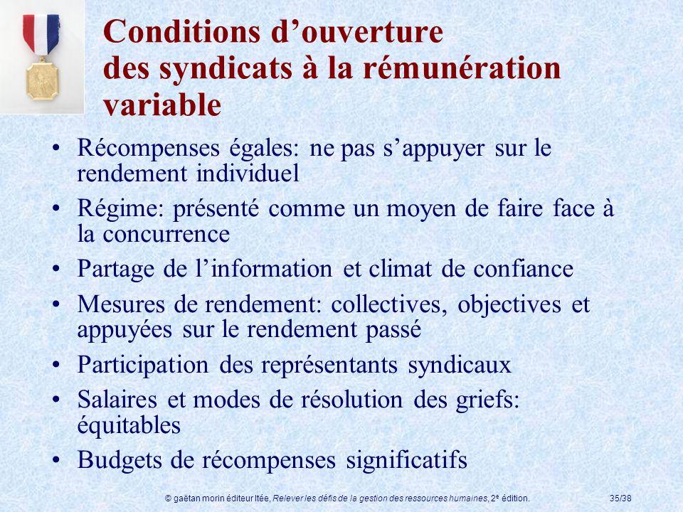 © gaëtan morin éditeur ltée, Relever les défis de la gestion des ressources humaines, 2 e édition.35/38 Conditions douverture des syndicats à la rémun