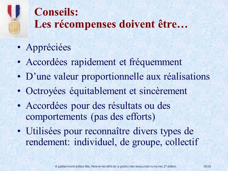 © gaëtan morin éditeur ltée, Relever les défis de la gestion des ressources humaines, 2 e édition.36/38 Conseils: Les récompenses doivent être… Appréc