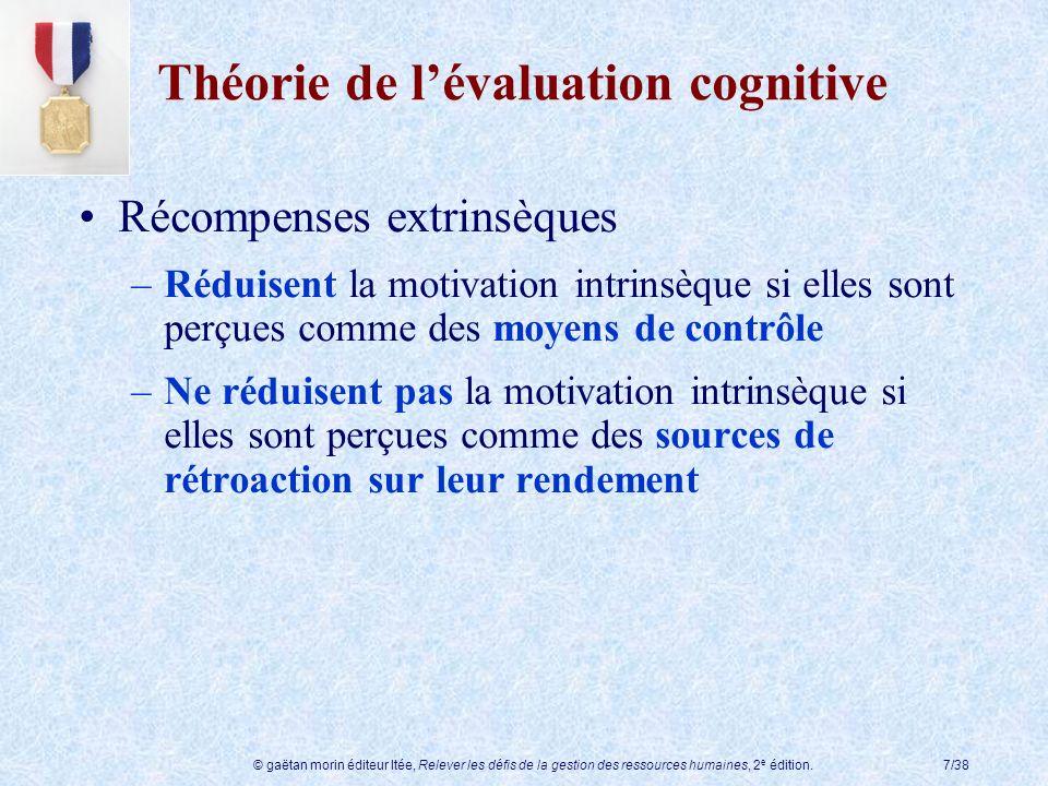 © gaëtan morin éditeur ltée, Relever les défis de la gestion des ressources humaines, 2 e édition.7/38 Théorie de lévaluation cognitive Récompenses ex