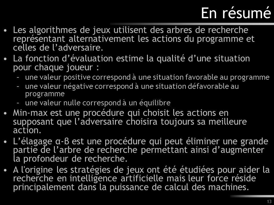13 En résumé Les algorithmes de jeux utilisent des arbres de recherche représentant alternativement les actions du programme et celles de ladversaire.