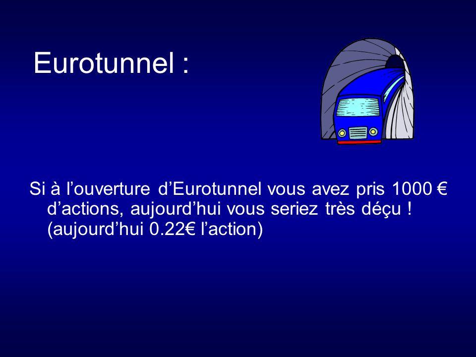 Eurotunnel : Si à louverture dEurotunnel vous avez pris 1000 dactions, aujourdhui vous seriez très déçu .