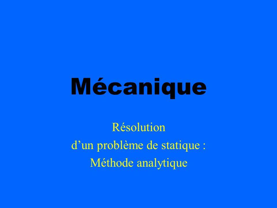 Mécanique Résolution dun problème de statique : Méthode analytique