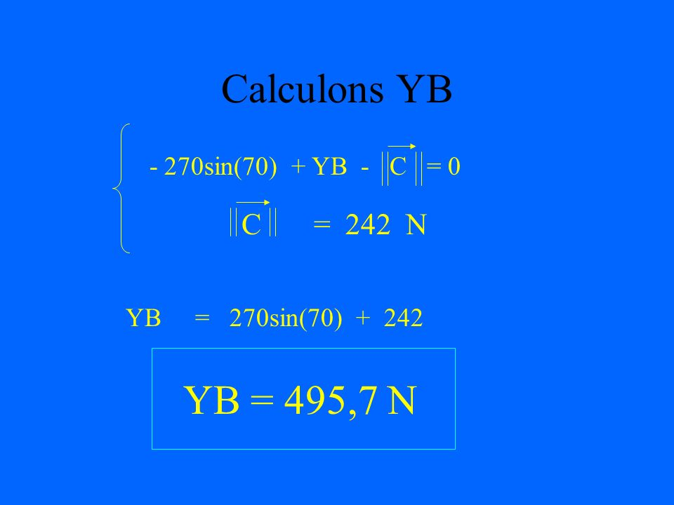 Calcul de la norme de C M (A) + M (B) + M (C) = 0 H H H 5482080 + 0 - C 84 = 0 - C 84 = - 5482080 C = 5482080 84 C = 242 N