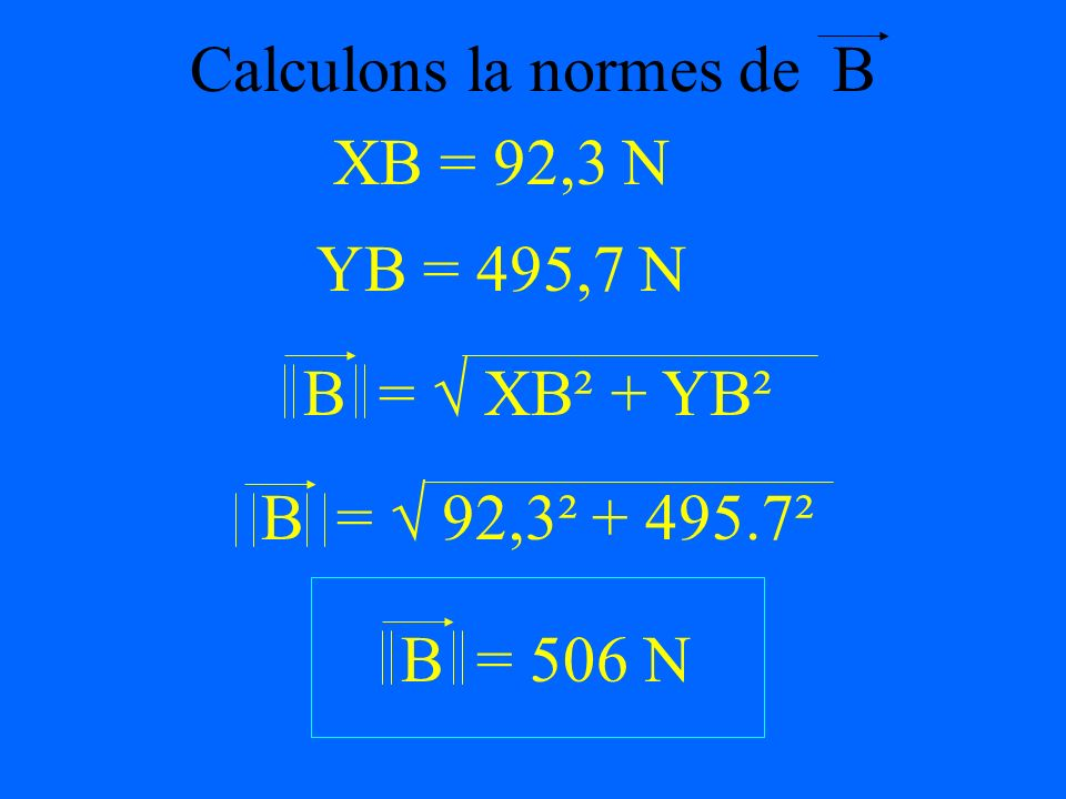 Calculons YB - 270sin(70) + YB - C = 0 YB = 270sin(70) + 242 C = 242 N YB = 495,7 N