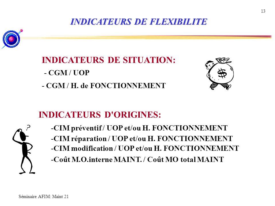 Séminaire AFIM: Maint 21 13 INDICATEURS DE FLEXIBILITE INDICATEURS DE FLEXIBILITE INDICATEURS DE SITUATION: - CGM / UOP - CGM / H. de FONCTIONNEMENT I