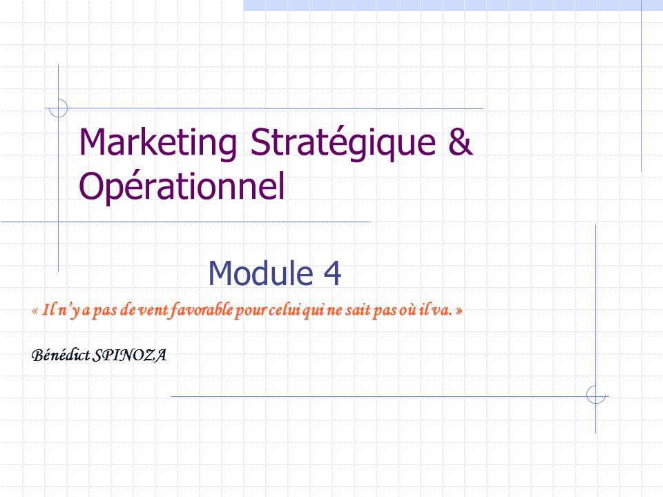 Marketing Stratégique & Opérationnel Module 4 « Il ny a pas de vent favorable pour celui qui ne sait pas où il va. » Bénédict SPINOZA