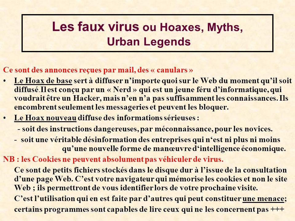 Les faux virus ou Hoaxes, Myths, Urban Legends Ce sont des annonces reçues par mail, des « canulars » Le Hoax de base sert à diffuser nimporte quoi sur le Web du moment quil soit diffusé.Il est conçu par un « Nerd » qui est un jeune féru dinformatique, qui voudrait être un Hacker, mais nen na pas suffisamment les connaissances.