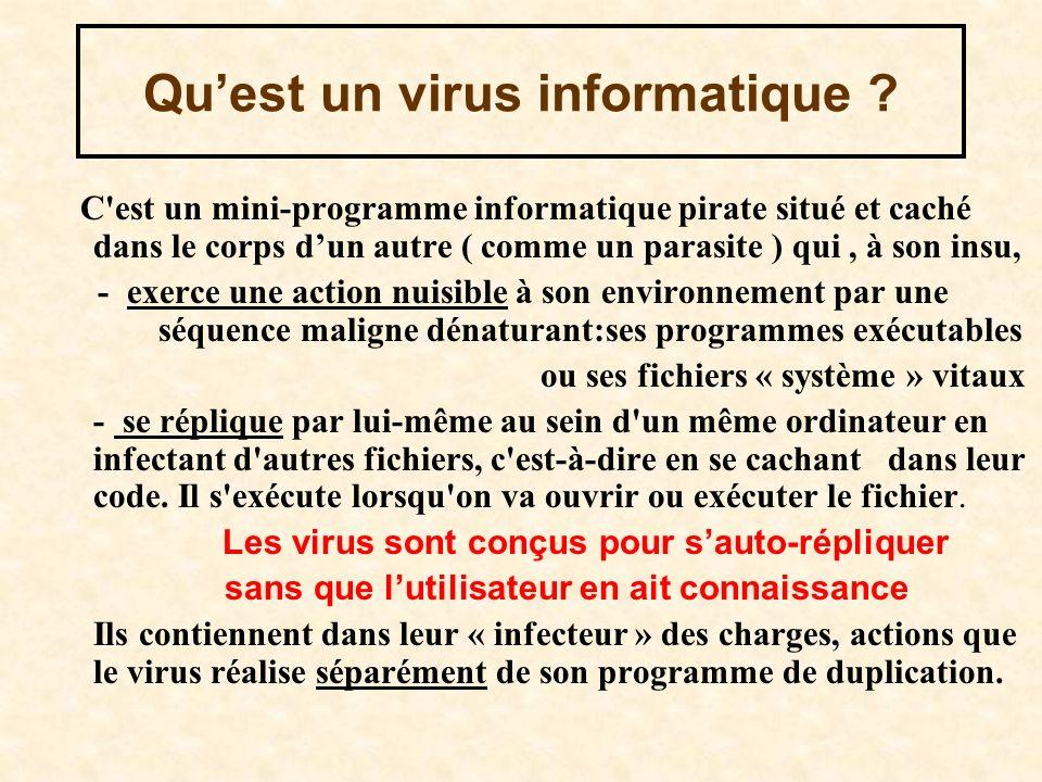 Quest un virus informatique ? C'est un mini-programme informatique pirate situé et caché dans le corps dun autre ( comme un parasite ) qui, à son insu