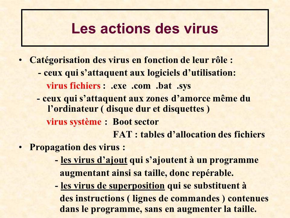 Les actions des virus Catégorisation des virus en fonction de leur rôle : - ceux qui sattaquent aux logiciels dutilisation: virus fichiers :.exe.com.b