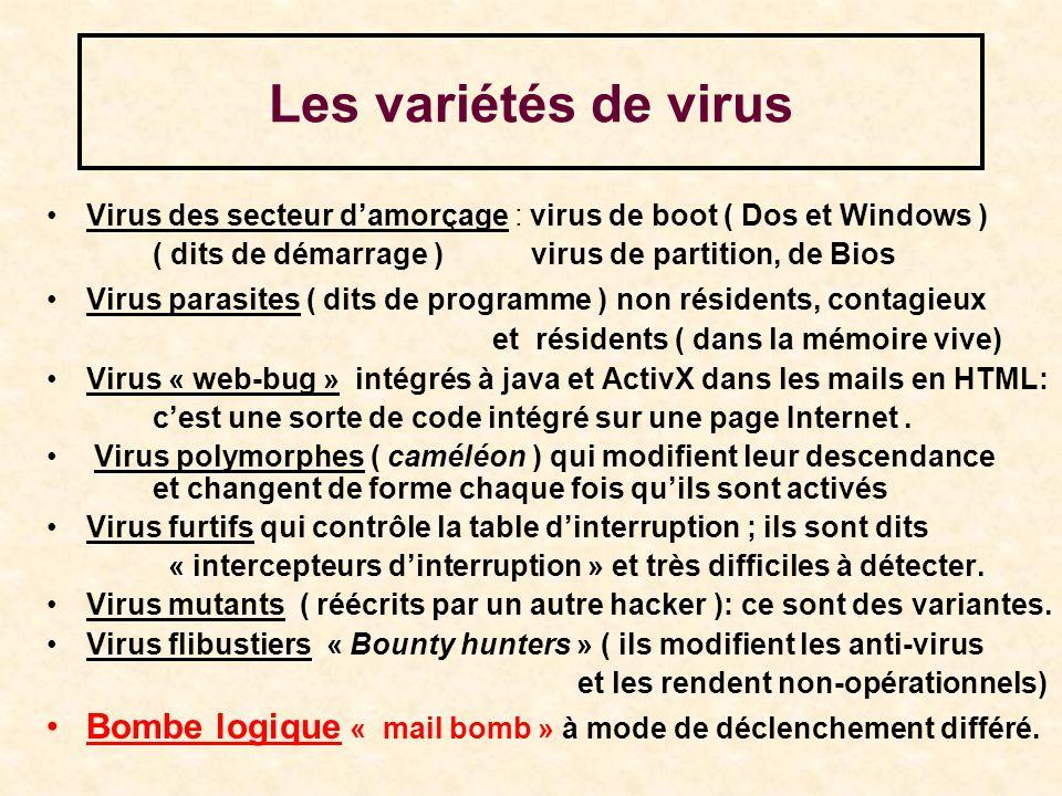 Les variétés de virus Virus des secteur damorçage : virus de boot ( Dos et Windows ) ( dits de démarrage ) virus de partition, de Bios Virus parasites ( dits de programme ) non résidents, contagieux et résidents ( dans la mémoire vive) Virus « web-bug » intégrés à java et ActivX dans les mails en HTML: cest une sorte de code intégré sur une page Internet.