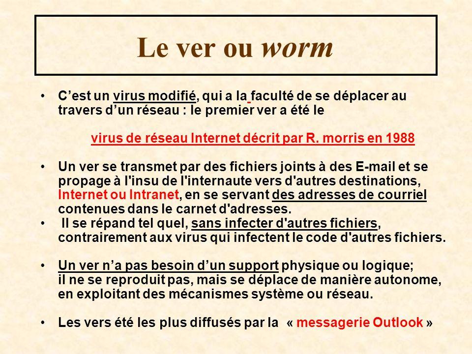 Le ver ou worm Cest un virus modifié, qui a la faculté de se déplacer au travers dun réseau : le premier ver a été le virus de réseau Internet décrit par R.