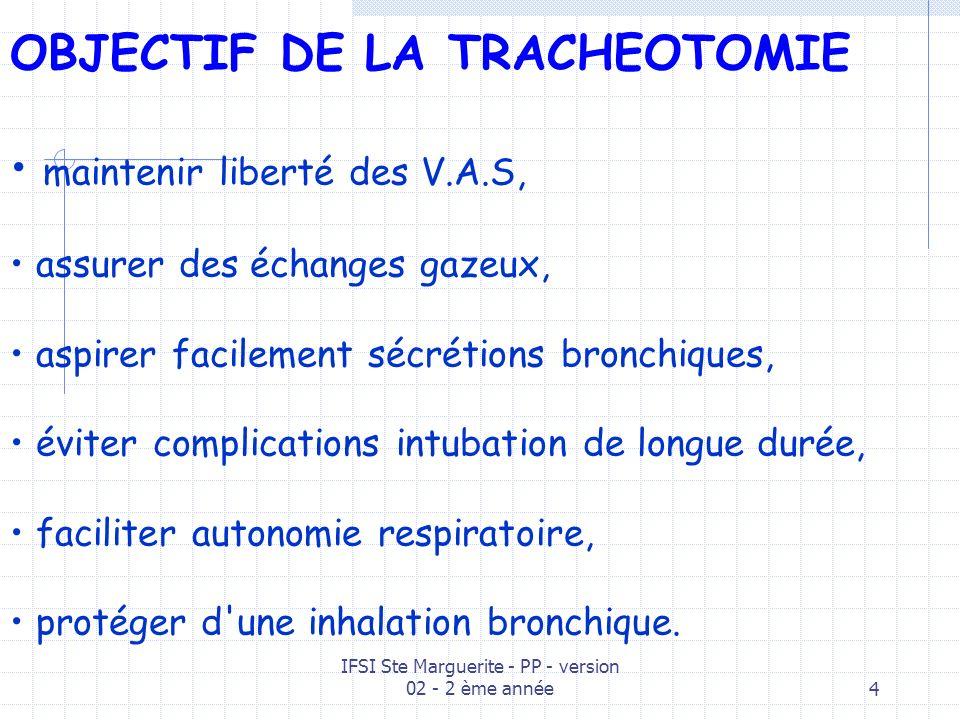 IFSI Ste Marguerite - PP - version 02 - 2 ème année4 OBJECTIF DE LA TRACHEOTOMIE maintenir liberté des V.A.S, assurer des échanges gazeux, aspirer facilement sécrétions bronchiques, éviter complications intubation de longue durée, faciliter autonomie respiratoire, protéger d une inhalation bronchique.
