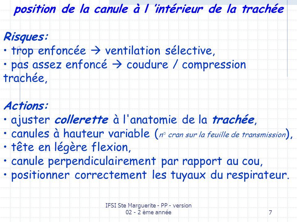 IFSI Ste Marguerite - PP - version 02 - 2 ème année7 position de la canule à l intérieur de la trachée Risques: trop enfoncée ventilation sélective, pas assez enfoncé coudure / compression trachée, Actions: ajuster collerette à l anatomie de la trachée, canules à hauteur variable ( n° cran sur la feuille de transmission ), tête en légère flexion, canule perpendiculairement par rapport au cou, positionner correctement les tuyaux du respirateur.