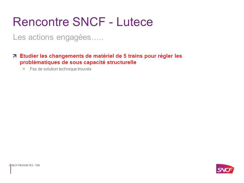 SNCF PROXIMITÉS - TER9 Rencontre SNCF - Lutece Etudier les changements de matériel de 5 trains pour régler les problématiques de sous capacité structu