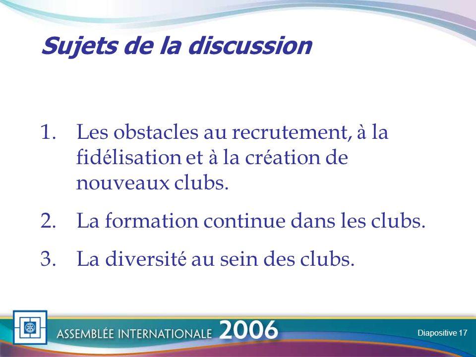 Slide Sujets de la discussion 1.Les obstacles au recrutement, à la fid é lisation et à la cr é ation de nouveaux clubs.