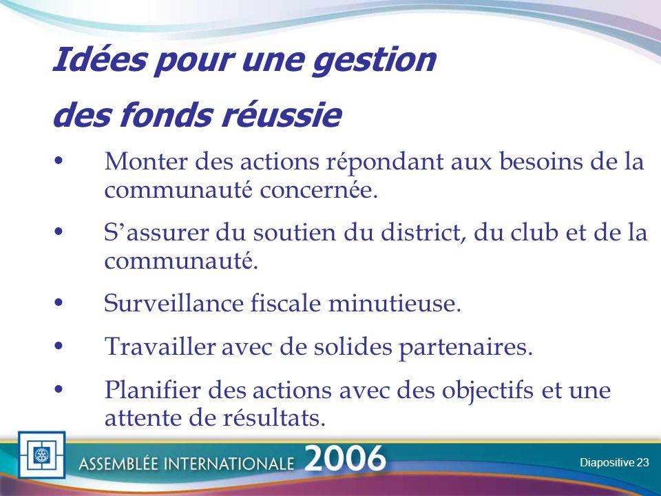 Slide Idées pour une gestion des fonds réussie Monter des actions r é pondant aux besoins de la communaut é concern é e.
