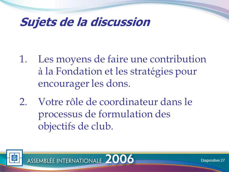 Slide Sujets de la discussion 1.Les moyens de faire une contribution à la Fondation et les strat é gies pour encourager les dons.
