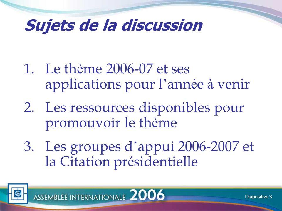 Slide Les domaines daction Ils demeurent les guides principaux de l action des Rotary clubs Les clubs en tiennent compte pour fixer leurs objectifs annuels Diapositive 14