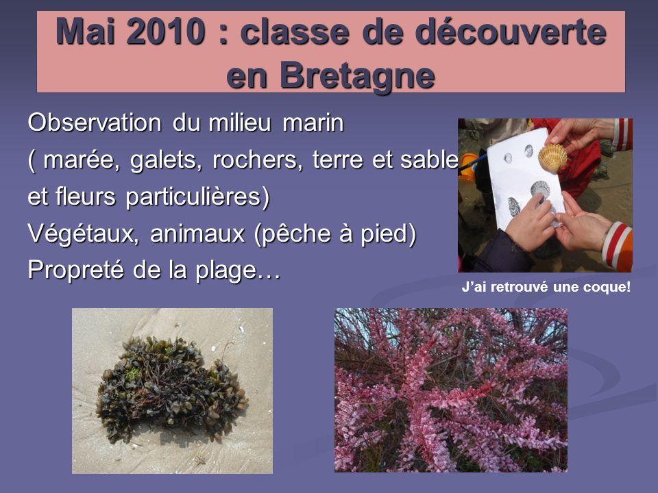 Mai 2010 : classe de découverte en Bretagne Observation du milieu marin ( marée, galets, rochers, terre et sable et fleurs particulières) Végétaux, an