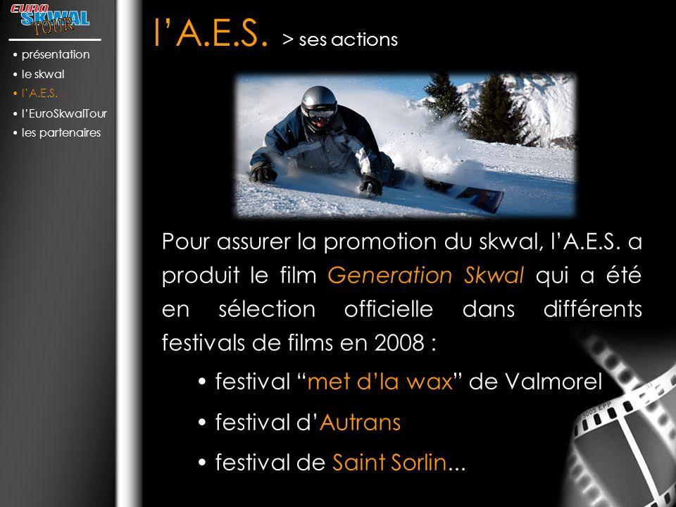 lA.E.S.> ses actions Pour assurer la promotion du skwal, lA.E.S.
