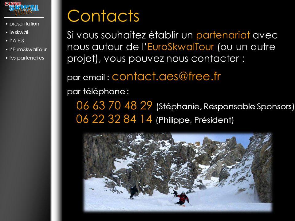 Contacts Si vous souhaitez établir un partenariat avec nous autour de lEuroSkwalTour (ou un autre projet), vous pouvez nous contacter : par email : contact.aes@free.fr par téléphone : 06 63 70 48 29 (Stéphanie, Responsable Sponsors) 06 22 32 84 14 (Philippe, Président) présentation le skwal lA.E.S.