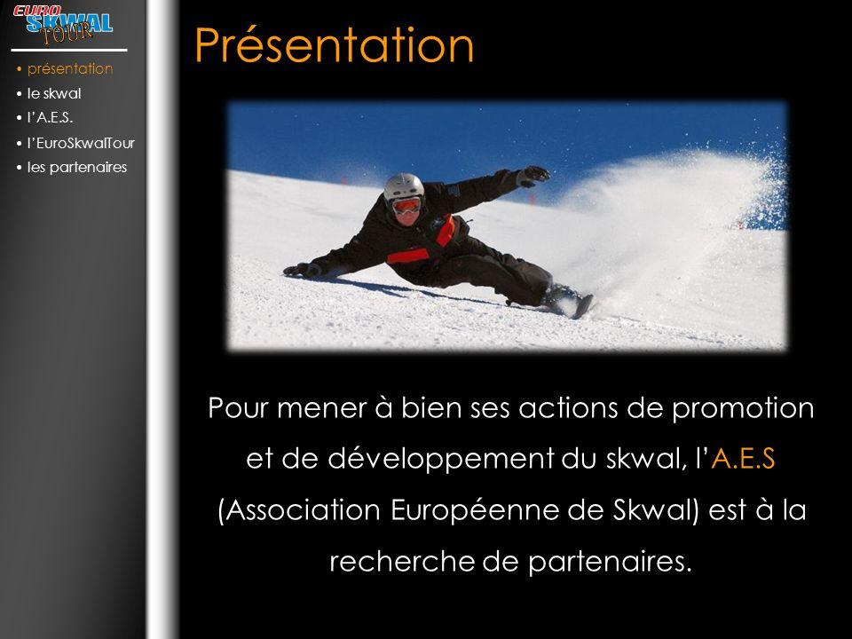 Présentation Pour mener à bien ses actions de promotion et de développement du skwal, lA.E.S (Association Européenne de Skwal) est à la recherche de partenaires.