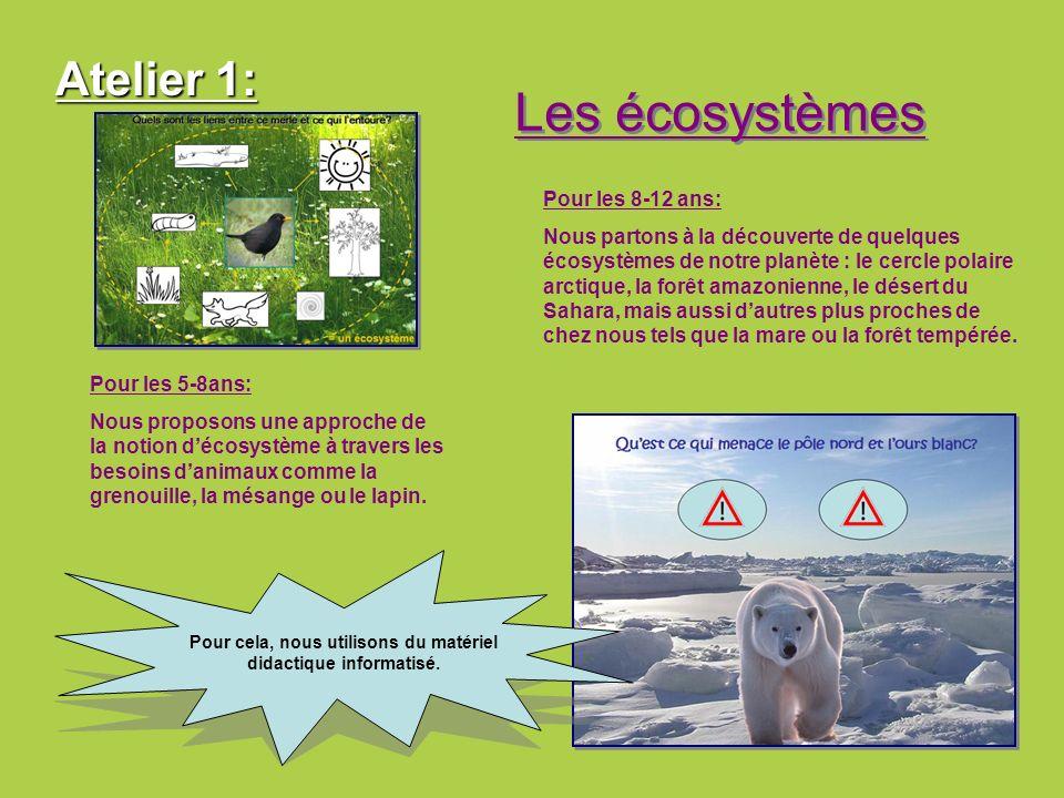 Atelier 1: Les écosystèmes Pour les 8-12 ans: Nous partons à la découverte de quelques écosystèmes de notre planète : le cercle polaire arctique, la f
