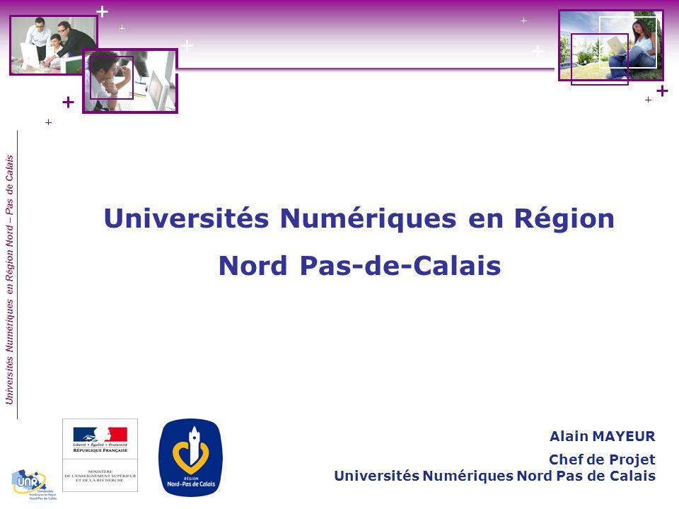 Universités Numériques en Région Nord – Pas de Calais Un financement Etat de 1,7 M Un financement Région de 1,6 M Programme initié en 2003/2004 Un consortium détablissements 6 Universités et ENSAIT Vivaldi 2009 Universités Numériques en Région Nord Pas-de-Calais
