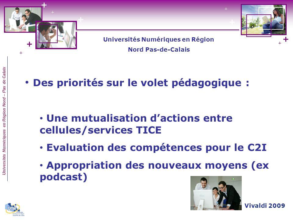 Universités Numériques en Région Nord – Pas de Calais Des priorités sur le volet pédagogique : Une mutualisation dactions entre cellules/services TICE