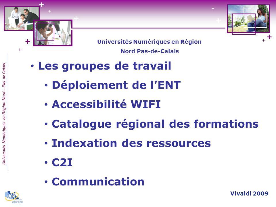 Universités Numériques en Région Nord – Pas de Calais Les groupes de travail Déploiement de lENT Accessibilité WIFI Catalogue régional des formations
