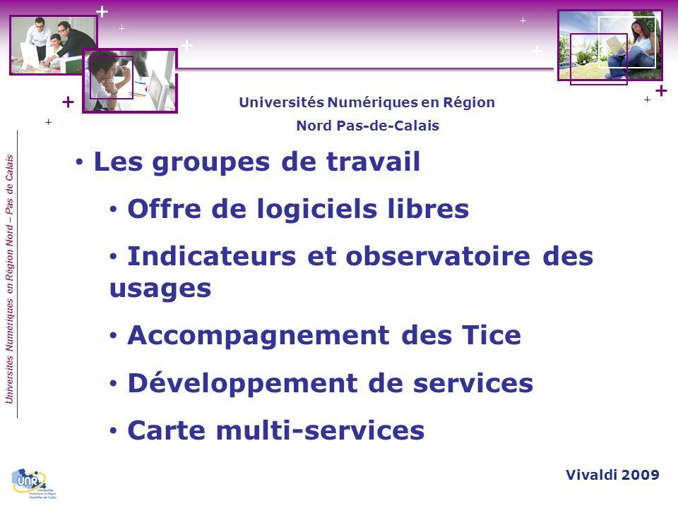Universités Numériques en Région Nord – Pas de Calais Les groupes de travail Offre de logiciels libres Indicateurs et observatoire des usages Accompag