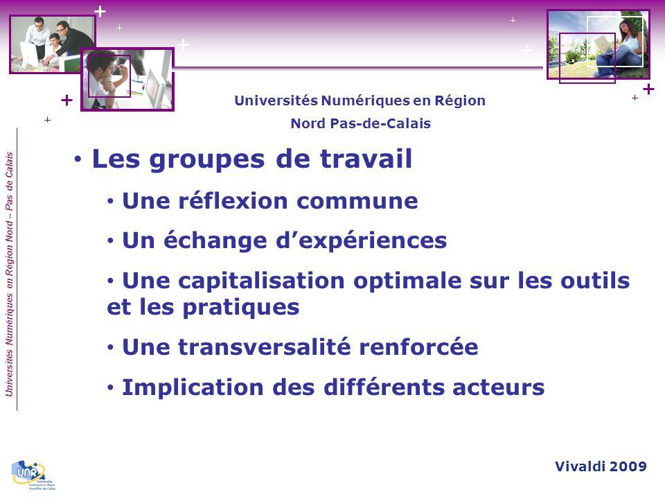 Universités Numériques en Région Nord – Pas de Calais Les groupes de travail Une réflexion commune Un échange dexpériences Une capitalisation optimale