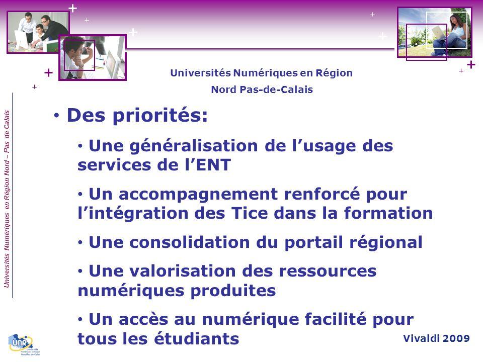 Universités Numériques en Région Nord – Pas de Calais Des priorités: Une généralisation de lusage des services de lENT Un accompagnement renforcé pour