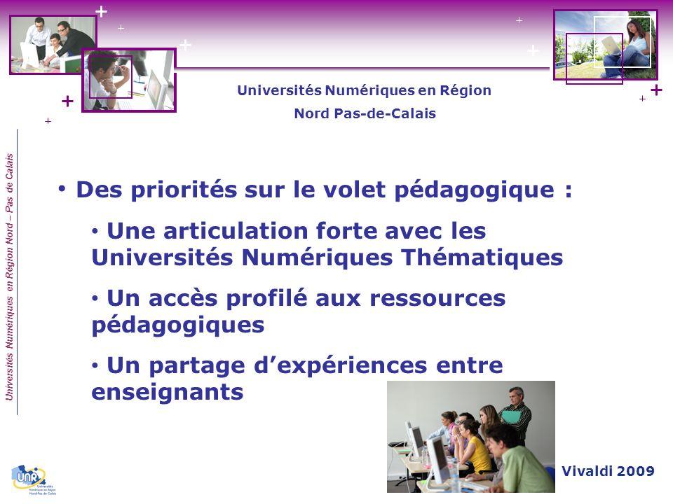Universités Numériques en Région Nord – Pas de Calais Des priorités sur le volet pédagogique : Une articulation forte avec les Universités Numériques