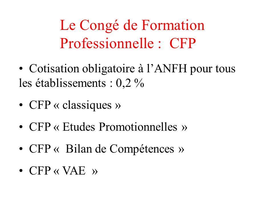 Le Congé de Formation Professionnelle : CFP Cotisation obligatoire à lANFH pour tous les établissements : 0,2 % CFP « classiques » CFP « Etudes Promot