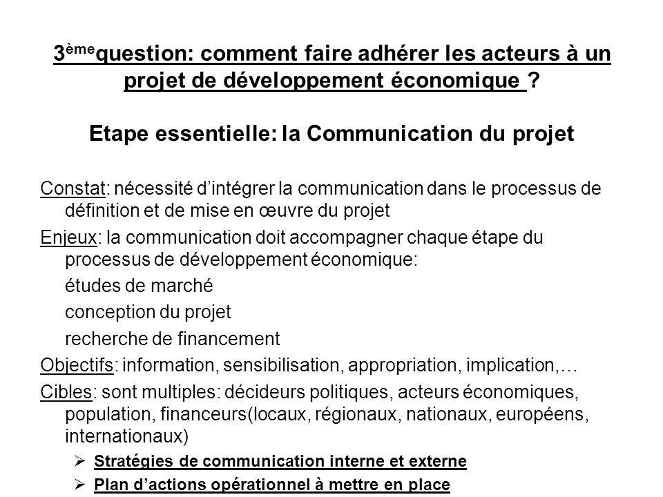 3 ème question: comment faire adhérer les acteurs à un projet de développement économique ? Etape essentielle: la Communication du projet Constat: néc