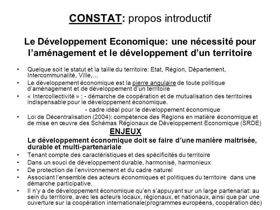 CONSTAT: propos introductif Le Développement Economique: une nécessité pour laménagement et le développement dun territoire Quelque soit le statut et