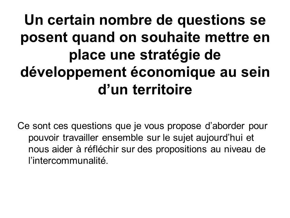 1 ère Question: quel est lespace pertinent pour développer une stratégie de développement économique .