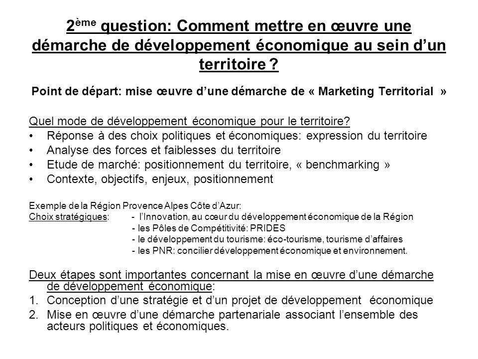 2 ème question: Comment mettre en œuvre une démarche de développement économique au sein dun territoire ? Point de départ: mise œuvre dune démarche de