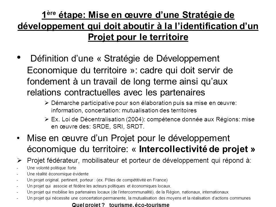 1 ère étape: Mise en œuvre dune Stratégie de développement qui doit aboutir à la lidentification dun Projet pour le territoire Définition dune « Strat