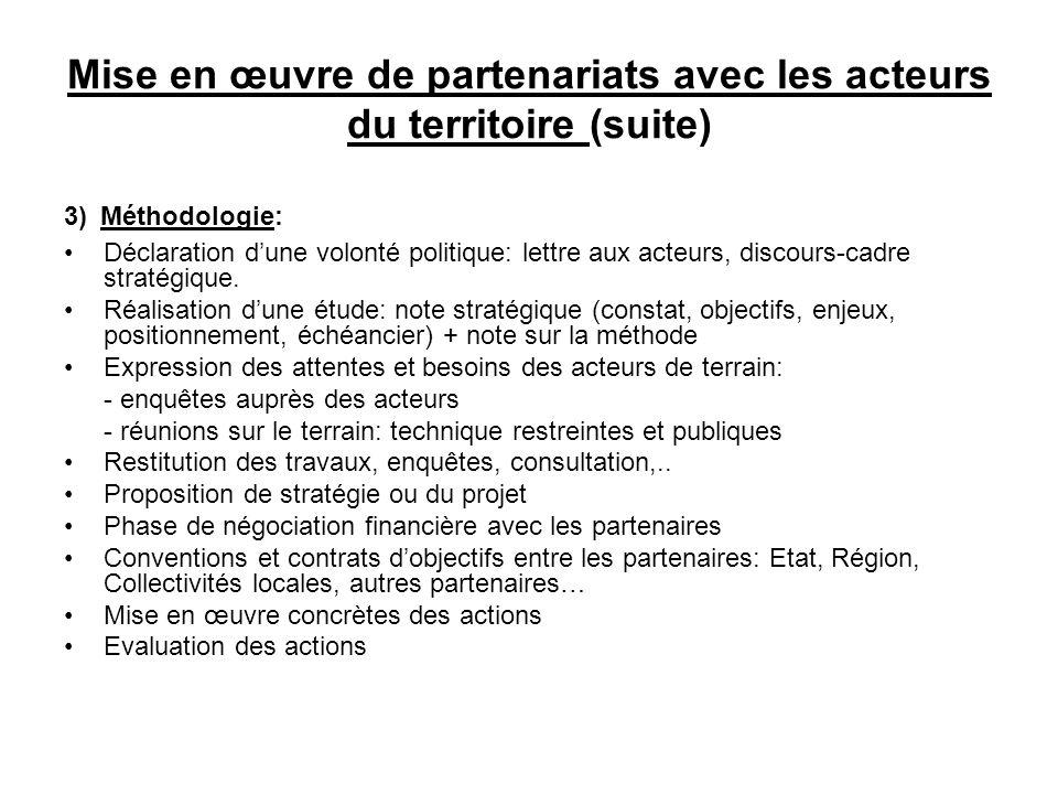 Mise en œuvre de partenariats avec les acteurs du territoire (suite) 3) Méthodologie: Déclaration dune volonté politique: lettre aux acteurs, discours-cadre stratégique.