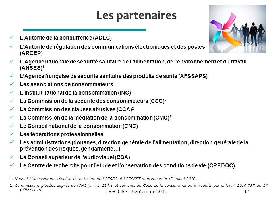 DGCCRF - Septembre 201114 Les partenaires LAutorité de la concurrence (ADLC) LAutorité de régulation des communications électroniques et des postes (ARCEP) LAgence nationale de sécurité sanitaire de lalimentation, de lenvironnement et du travail (ANSES) 1 LAgence française de sécurité sanitaire des produits de santé (AFSSAPS) Les associations de consommateurs LInstitut national de la consommation (INC) La Commission de la sécurité des consommateurs (CSC) 2 La Commission des clauses abusives (CCA) 2 La Commission de la médiation de la consommation (CMC) 2 Le Conseil national de la consommation (CNC) Les fédérations professionnelles Les administrations (douanes, direction générale de lalimentation, direction générale de la prévention des risques, gendarmerie…) Le Conseil supérieur de laudiovisuel (CSA) Le Centre de recherche pour létude et lobservation des conditions de vie (CREDOC) 1.