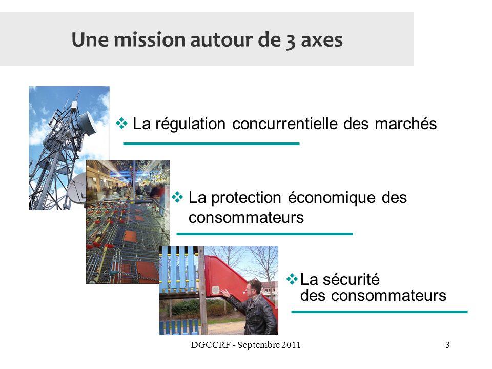 DGCCRF - Septembre 20113 Une mission autour de 3 axes La régulation concurrentielle des marchés La protection économique des consommateurs La sécurité des consommateurs