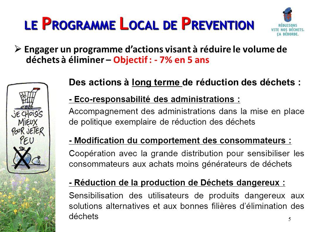 5 Des actions à long terme de réduction des déchets : - Eco-responsabilité des administrations : Accompagnement des administrations dans la mise en pl