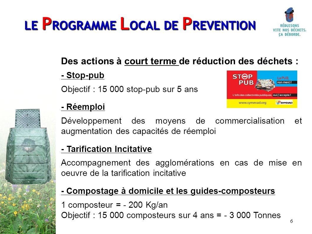 6 Des actions à court terme de réduction des déchets : - Stop-pub Objectif : 15 000 stop-pub sur 5 ans - Réemploi Développement des moyens de commerci